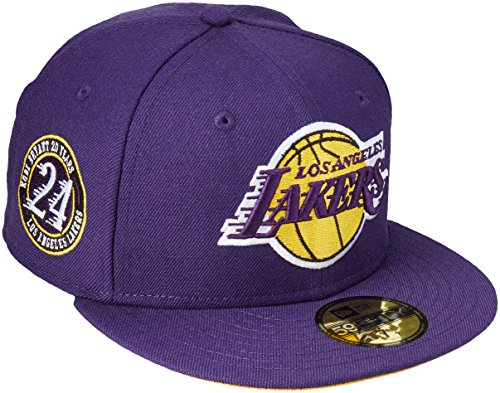 New Era 59Fifty NBA Hat Los Angeles Lakers Kobe Bryant 20 Years Dark Purple Fitted Cap (7 1/4) (Kobe Bryant Hat)