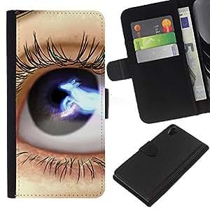 All Phone Most Case / Oferta Especial Cáscara Funda de cuero Monedero Cubierta de proteccion Caso / Wallet Case for Sony Xperia Z2 D6502 // Eye Blue Black Space Lashes Close Up
