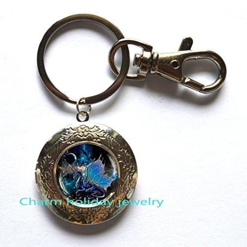 Dragon Locket Keychain, Fantasy Locket Keyring,Boyfriend gift, Men's Locket keychain,dragon gift for him,Dragon Jewelry