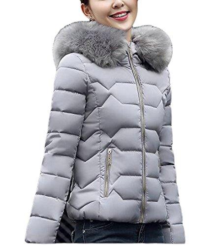 today-UK Women Lightweight Down Jacket Faux Fur Collar Hooded Puffer Winter Coat Grey