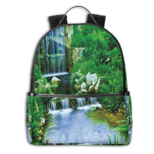 College Backpacks for Women Girls,Waterfall Flowing Down The Rocks Foliage Cascade In Forest Valley Image,Casual Hiking Travel Daypack (Best Fall Foliage In Texas)