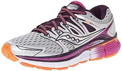 Saucony Women's Triumph ISO Running Shoe, Silver/Purple/Orange, 7 M US