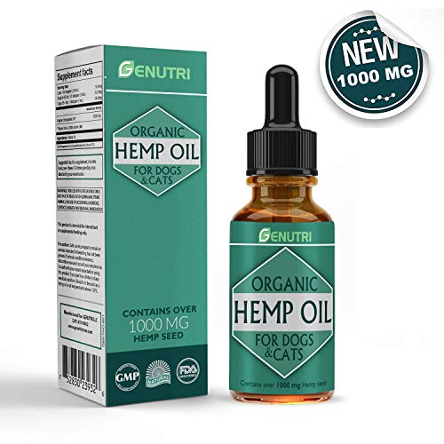 VEDIK Organic Hemp Oil for Dogs and Cats (1000 mg) - Nutritional Oil, Joint Mobility Support, Anxiety and Joint Pain Relief, Skin and Fur Support for Pets - Pain Medication for Dogs and Cats - No THC