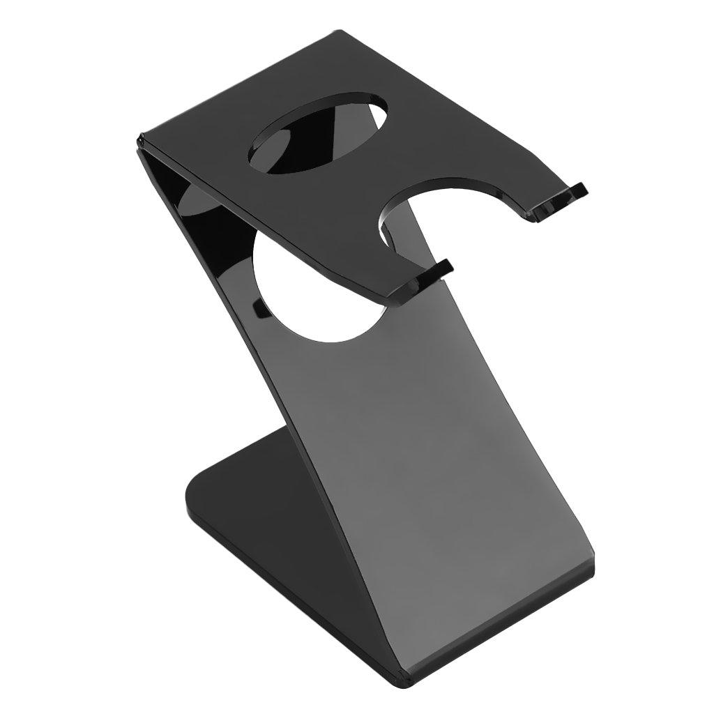 Dolity Black Acrylic Z-Shape Shaving Brush Stand Folding Straight Razor Holder for Men Best Gift