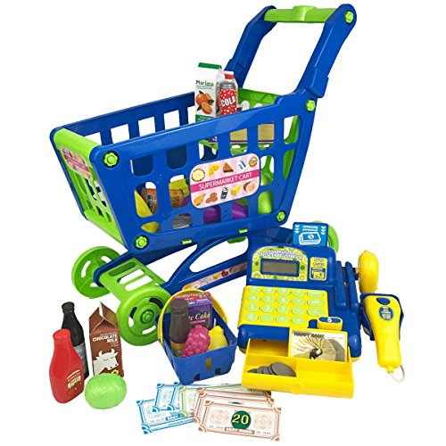 Boley Grocery Cart Toy - Educational toy shopping cart for kids, for hours of pretend play running your own grocery store - equipped with grocery food and a supermarket cash register!