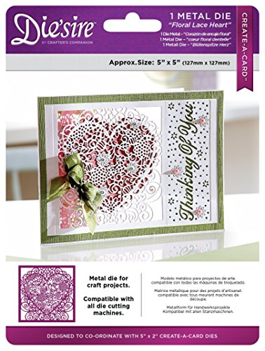 Die'sire Die's ire Create-A-Card Die, Floral Lace Heart - Exclusive Die