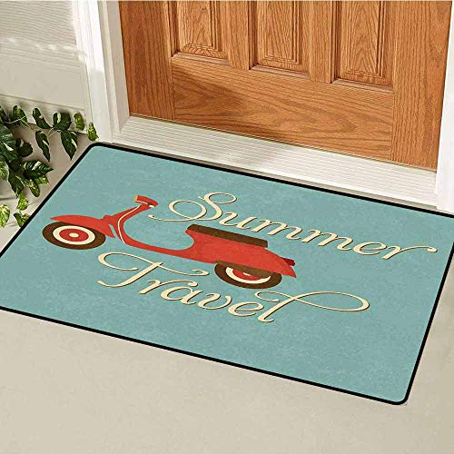 1960s Decorations Commercial grade entrance mat Summer Travel Scooter Vacation Vespa Classic Wheels Rock Cool Cycle Hippy Motorbike Design For entrances garages patios W31.5 x L47.2 Inch -
