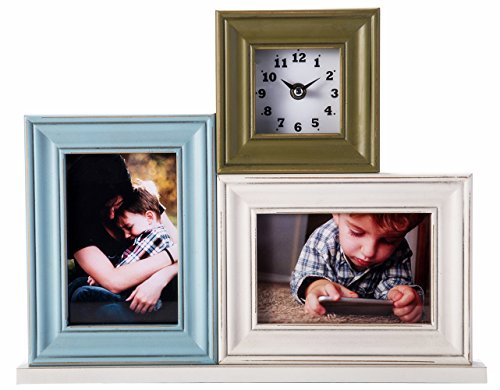 - YoMee Collage and Clock Combo, Vertical Horizontal Double 4x6 Picture Frame – Wood with Glass Front - Blue/White/Green - Table Desk Top