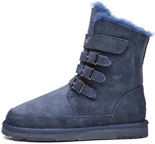 Womens Snow Calf Boots Blue Winter Short amp;MU Mid Boots Aumu AU qxUXEw