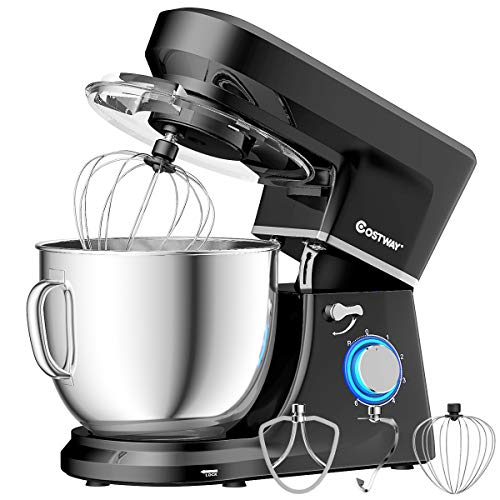 COSTWAY Stand Mixer 660W 6-Speed, Electric Mixer with Stainless Steel Bowl, Tilt-Head Food Mixer, High Performance Kitchen Electric Mixer Dough Mixer w/ 3 Different Attachments,7.5 Quart Bowl , Low Noise, Whisk(Black-update)