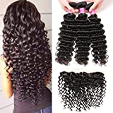 VRBest Brazilian Deep Wave with Lace Frontal Ear to Ear 13x4 Closure with Bundles 8A 100% Unprocessed Virgin Human Hair Bundles Free Frontal Black Color (22 24 26+20 frontal)