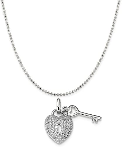 Snake or Ball Chain Necklace Sterling Silver Rhodium-Plated Small Key Pendant on a Sterling Silver Cable