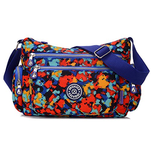 Waterproof With Nylon Lots Chou Zipper Tiny colored Crossbody Messenger Bag Multi Lightweight Shoulder Pockets 1wAnEnxqH