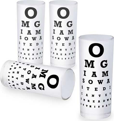 Set of 4 Eye Chart Shot Glasses SHOT474 (Eye Chart Shot Glass compare prices)