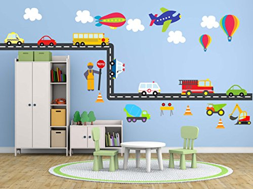 Kids Wall Fabric Peel & Stick Decal City Transportation System, Construction Set, Cars, School bus, Fire truck, Plane, Reusable, Repostionable