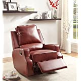 Furniture of America Alonzo Leatherette Recliner, Red
