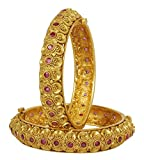 MUCH-MORE Fabulous Bollywood Style Gold Tone Polki Indian Bangles Traditional Jewelry (2.6)
