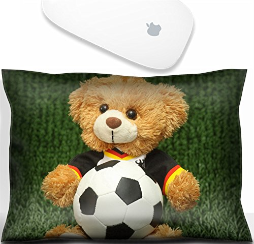 Luxlady Mouse Wrist Rest Office Decor Wrist Supporter Pillow Teddy bear with football shirt on lawn background. IMAGE: 7548556