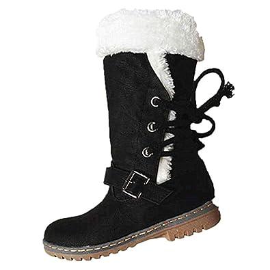 67f7384a4e509d JOYTO Winterstiefel Damen Warm Gefütterte Stiefelette Schneestiefel  Blockabsatz Fell Kniehohe Winter High Boots Langschaft Flach Schwarz