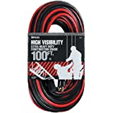 Woods 2447 12/3 SJTW High Visibility Outdoor Extension Cord, Red/Black, 100-Feet