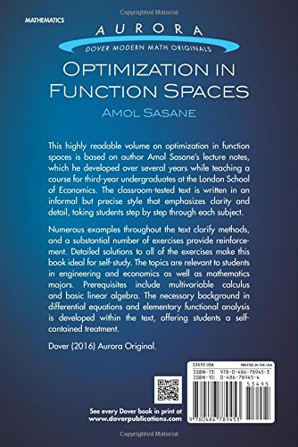 Optimization in Function Spaces (Aurora: Dover Modern Math Originals): Prof. Amol Sasane: 9780486789453: Amazon.com: Books