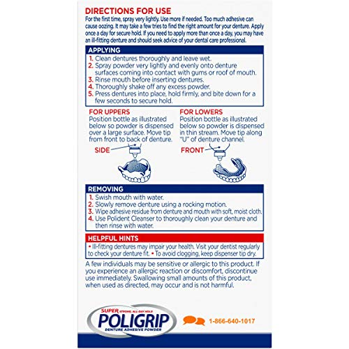 Super Poligrip Extra Strength Denture Adhesive Powder, 1.6 ounce (Pack of 6) (Packaging may vary) - http://coolthings.us