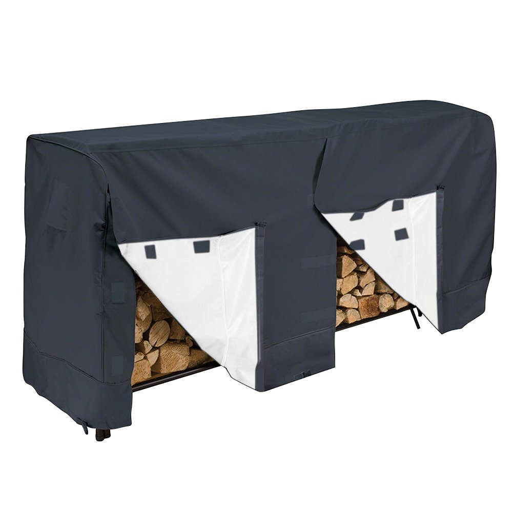 SHZONS Log Rack Cover, Waterproof Firewood Rack Cover,Outdoor Cover with Durable and Water Resistant Fabric