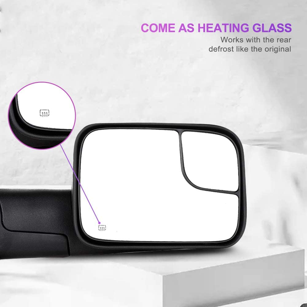 Ineedup Tow Mirror Towing Mirror Fit for Dodge Ram 1500 2003 2004 2005 2006 2007 2008 2009 Dodge Ram 2500 Dodge Ram 3500 with Right Side Power Operation Heated Without Turn Signal Light
