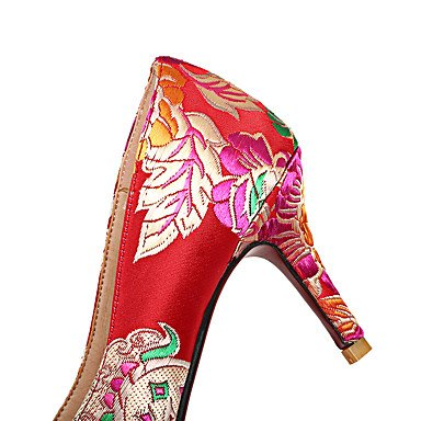 Talones de las mujeres Primavera Verano Otoño zapatos de la comodidad de seda bordado banquete de boda y vestido de noche del tacón de aguja rojo púrpura flor que recorre Purple