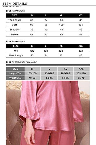 ricamo Donna floreale in Raso Pigiama Luxury Donna squisito Camicia Silky da da Dolamen per Rose Pigiama Pigiami notte Notte indumenti morbida TF1Sw1f