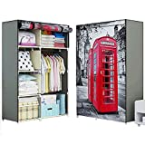FKUO New 3D Printing Non-Woven Fabric Wardrobe Storage Organizer Detachable Clothing Portable Closet Bedroom Fashion Furniture (red-Phone-Booth, 106*43*157CM)