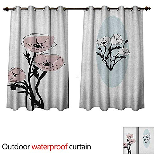 (Poppy 0utdoor Curtains for Patio Waterproof Artistic Bouquet of Pastel Florets Flourishes in Different Frames W72 x L63(183cm x 160cm))