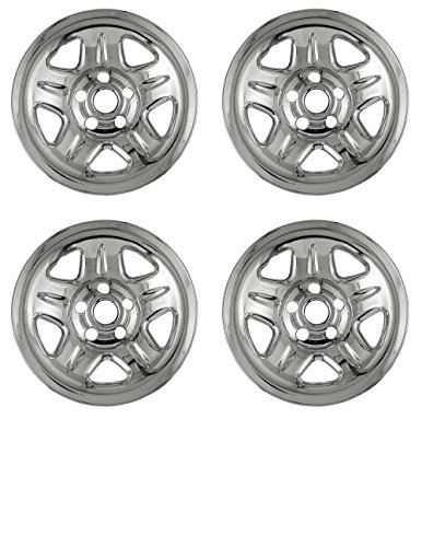 Set of 4 Chrome Wheel Skin Hubcap w Center: Jeep ('93 – '01 Cherokee/ '97 – '01 Wrangler) 15×7 Inch 5 Lug Steel Rim -Aftermarket: IMP/05X