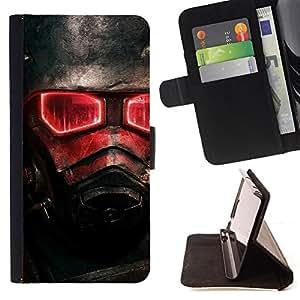 - Red Glow Fallout Soldier - - Prima caja de la PU billetera de cuero con ranuras para tarjetas, efectivo desmontable correa para l Funny HouseFOR Sony Xperia Z1 Compact D5503
