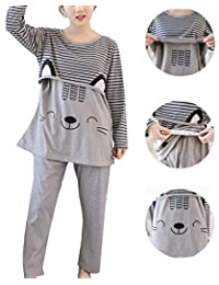 Womens Ultra Soft Maternity Nursing Pajama Sleepwear Set Breastfeeding for Hospital
