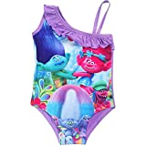 KIDHF Trolls One Piece Summer Swimsuit Girls Princess Swimwear (Purple,130/8-9Y)