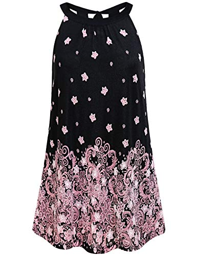 Summer Casual Shirts for Women,Chic Sleeveless Tops and Blouses Modest Tanks Nice Flower Paisley Print Swing A Line Flattering Tunic Plain Utility Breathable Petite Leisure Party Wear Pink Floral XXL ()