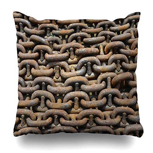 Ahawoso Throw Pillow Cover Square 18x18 Bollard Winch Anchor Rope Chain Sports Recreation Anchorage Anchored Boat Cable Design Rust Pillowcase Home Decor Cushion Case