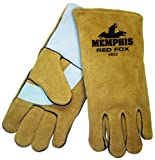 MCR Safety 4622 14-Inch Red Fox Premium Side Split Cow Leather Welder Gloves with Foam Lining and Reinforced Wing Thumb, Gold, X-Large