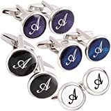 HJ Mens 2PCS Rhodium Plated Cufflinks Silver Initial Letter Shirt Wedding Business 1 Pair Set 4 Color A-Z