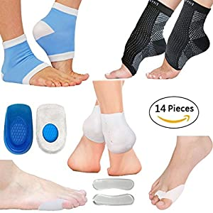 Plantar Fasciitis Foot Sleeve Kit 7 Pairs Foot Care Compression Sleeve, Silicone Gel Heel Protectors Intensive Moisturizing Gel Heel Sleeves Shoe Insoles Toe Guard & Bunion Relief Protectors (L/XL)