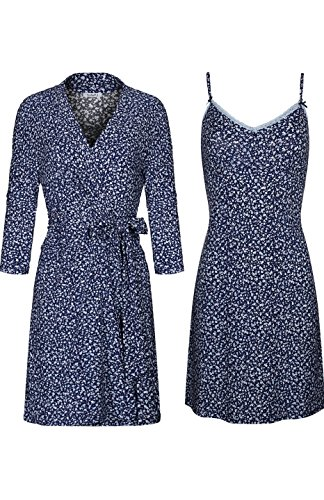 SofiePJ Women's Printed Sleepwear Chemise and Robe 2PC Set Dark Blue (Womens Printed Chemises)