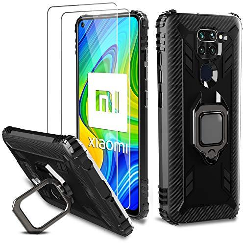 🥇 Milomdoi [Funda y 2 Unidades] Carcasa para Xiaomi Redmi Note 9 Funda con Protectores Pantalla Cristal Templado HD