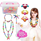 Pop Snap Beads Set 500Pcs for Kids Toddlers- DIY Bead Toys made Jewelry Necklaces Bracelets Rings Crafts- Ideal Christmas Birthday Gifts for Girls