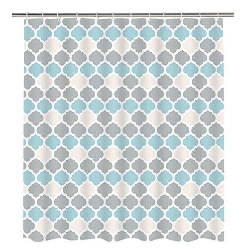 Grey, Tan and Teal Geometric Shower Curtain