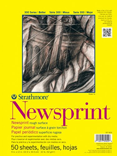 Strathmore 300 Series Newsprint Pad, Rough, 24''x36'' Tape Bound, 50 Sheets by Strathmore