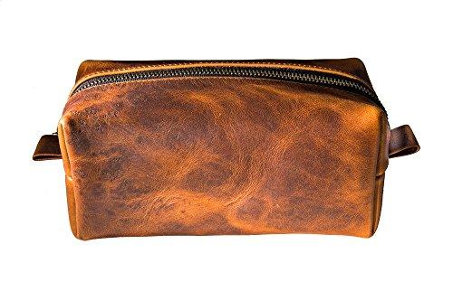 Toiletry Bag in Full-Grain Chestnut Leather, Portable Men's Dopp Kit for Shaving and Grooming Supplies, Travel Cosmetic Organizer, Gift for Men Women, Zippered Bathroom Pouch Case