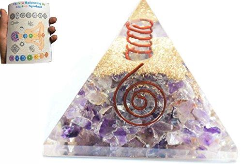 New Amethyst Chakra Orgone Pyramid Free Booklet Crystal Gemstones Copper Metal Mix Rare Healing Positive Energy Tetrahedron Sacred Geometry Meditation Spiritual Effect Business Prosperity Success -  Vaibhav Jewels, AM-FL-FT-81