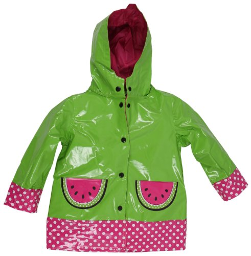 Wippette Girls and Infant Waterproof Hooded Watermelon Raincoat - Green (Size 3T)