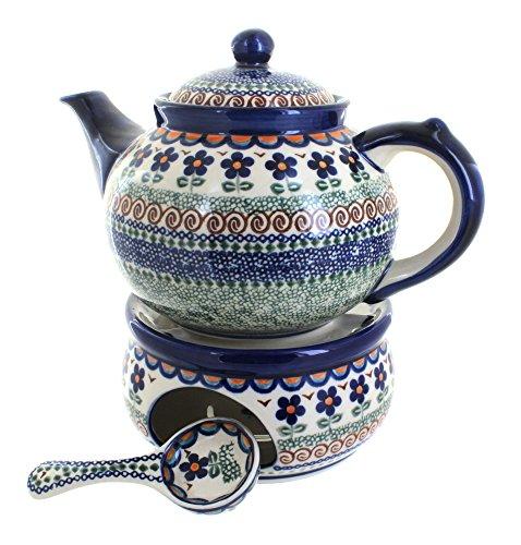 Pot Polish Flower (Blue Rose Polish Pottery Aztec Flower Teapot with Warmer & Candle Holder)